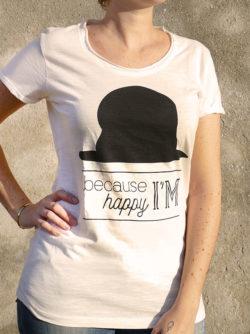 T-shirt pour femme avec un motif représentant un chapeau et le texte Because I'm happy