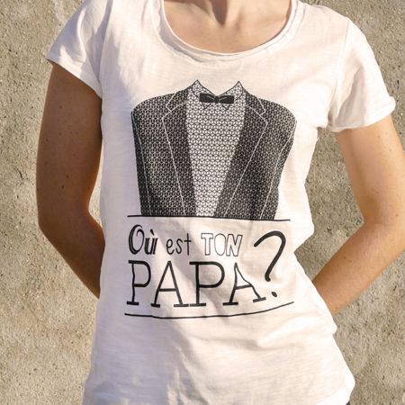 T-shirt pour femme avec un motif représentant un smoking et le texte Où est ton papa?