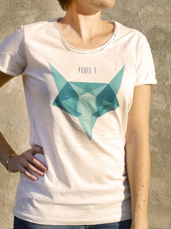 T-shirt pour femme avec un motif représentant un renard en origami avec la question est-ce une poule?