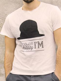 T-shirt pour homme avec un motif représentant un chapeau et le texte Because I'm happy