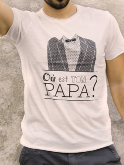 T-shirt pour homme avec un motif représentant un smoking et le texte Où est ton papa?