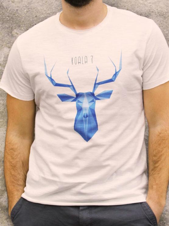 T-shirt pour homme avec un motif représentant un cerf en origami avec la question est-ce un koala?