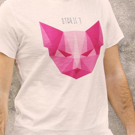 T-shirt pour homme avec un motif représentant un chat en origami avec la question est-ce une otarie?
