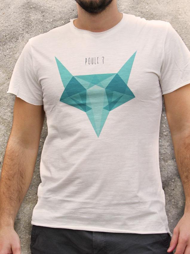 T-shirt pour homme avec un motif représentant un renard en origami avec la question est-ce une poule?