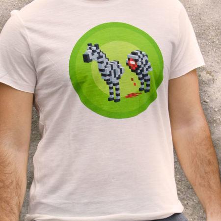 T-shirt pour homme avec un motif représentant un zèbre en pixel entouré dans des rond verts