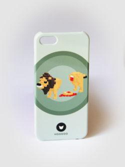 coque pour Iphone 5 avec le visuel d'un lion sur fond vert