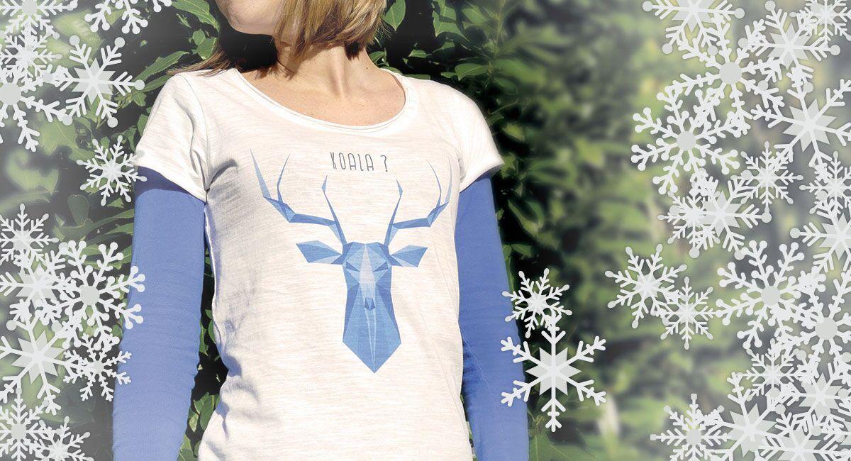 image du t-shirt du cerf entouré de neige pour les fêtes de fin d'année