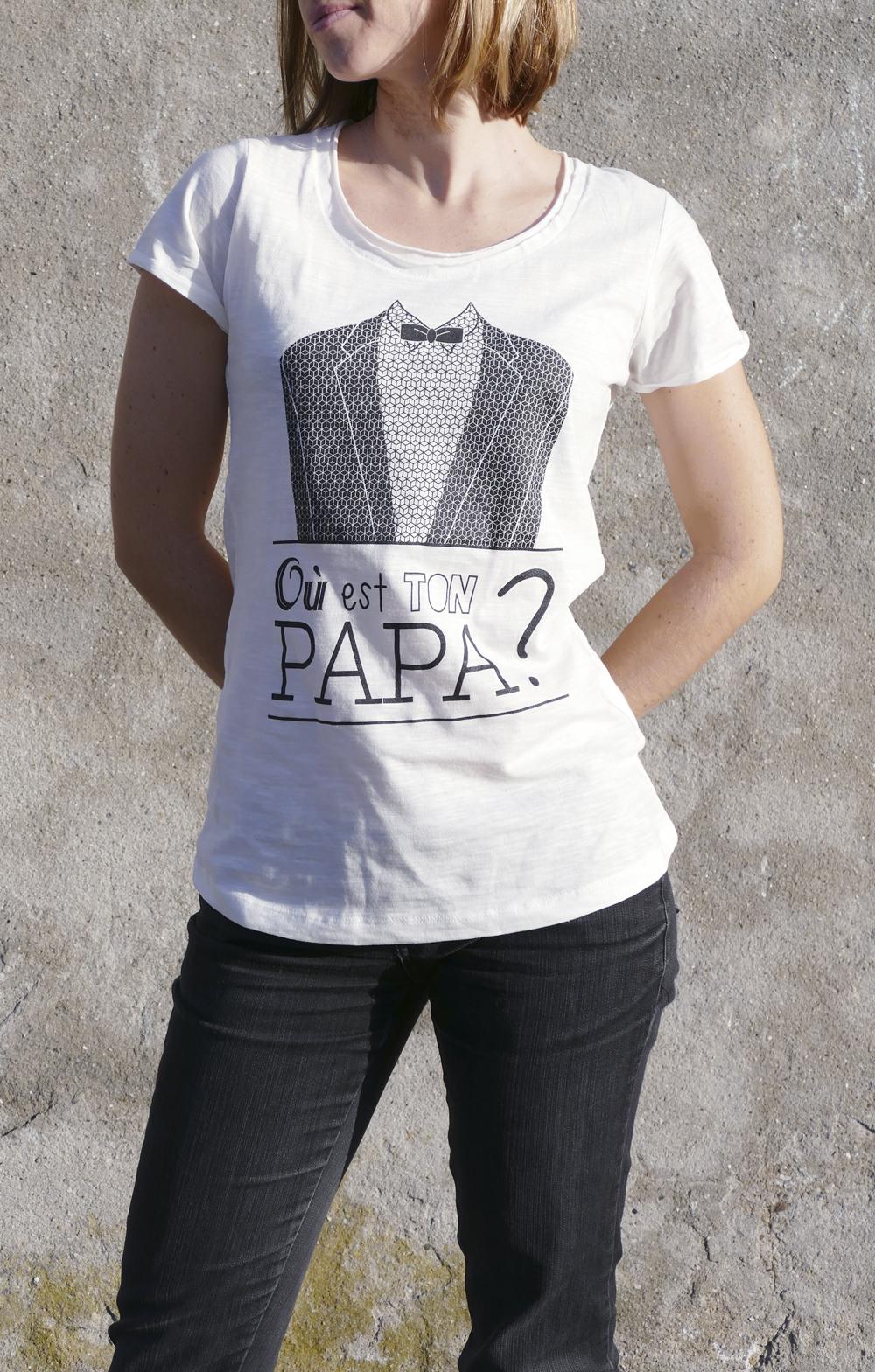 photo du t-shirt montrant le visuel d'où est ton ton papa?