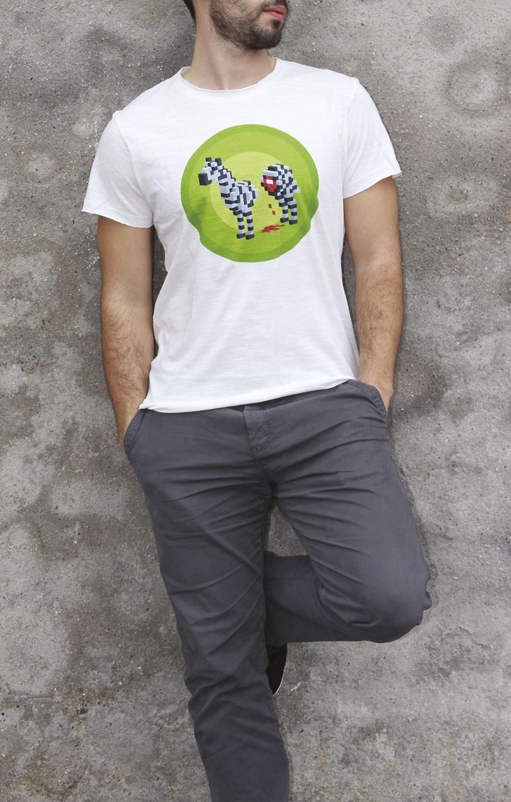 photo du t-shirt montrant le visuel du zèbre