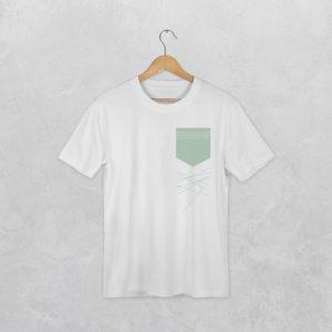 t-shirt avec le visuel poche et lignes tombantes