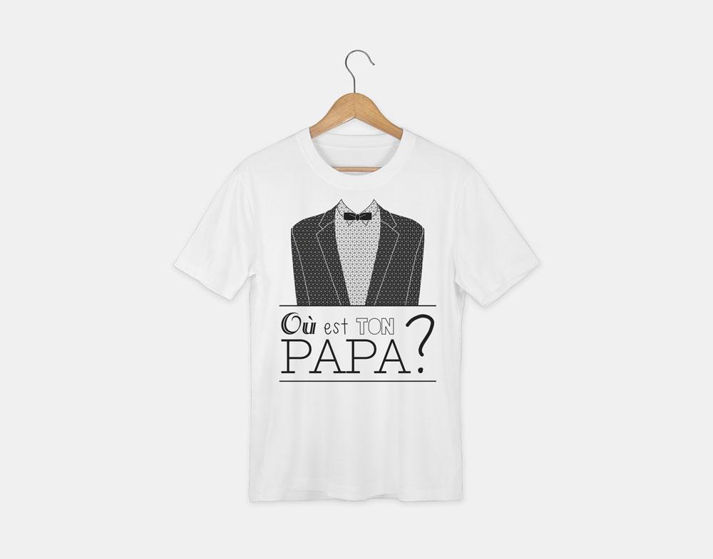 t-shirt avec le visuel où est ton papa de la collection lyrics