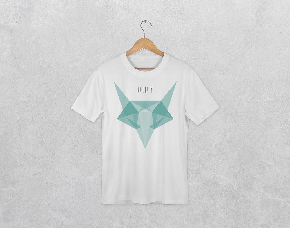 t-shirt avec le visuel renard de la collection origami
