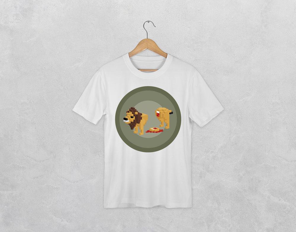 t-shirt avec le visuel lion de la collection pixels