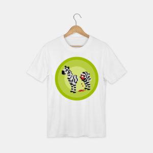 t-shirt avec le visuel zèbre de la collection pixels