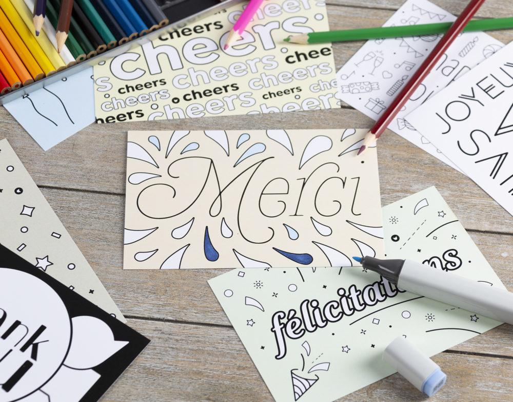 cartes à colorier avec un fond teinté
