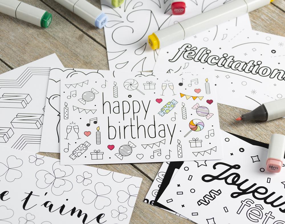 cartes à colorier neutre
